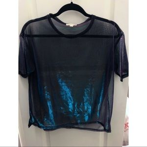 Urban Outfitters sheer iridescent tee